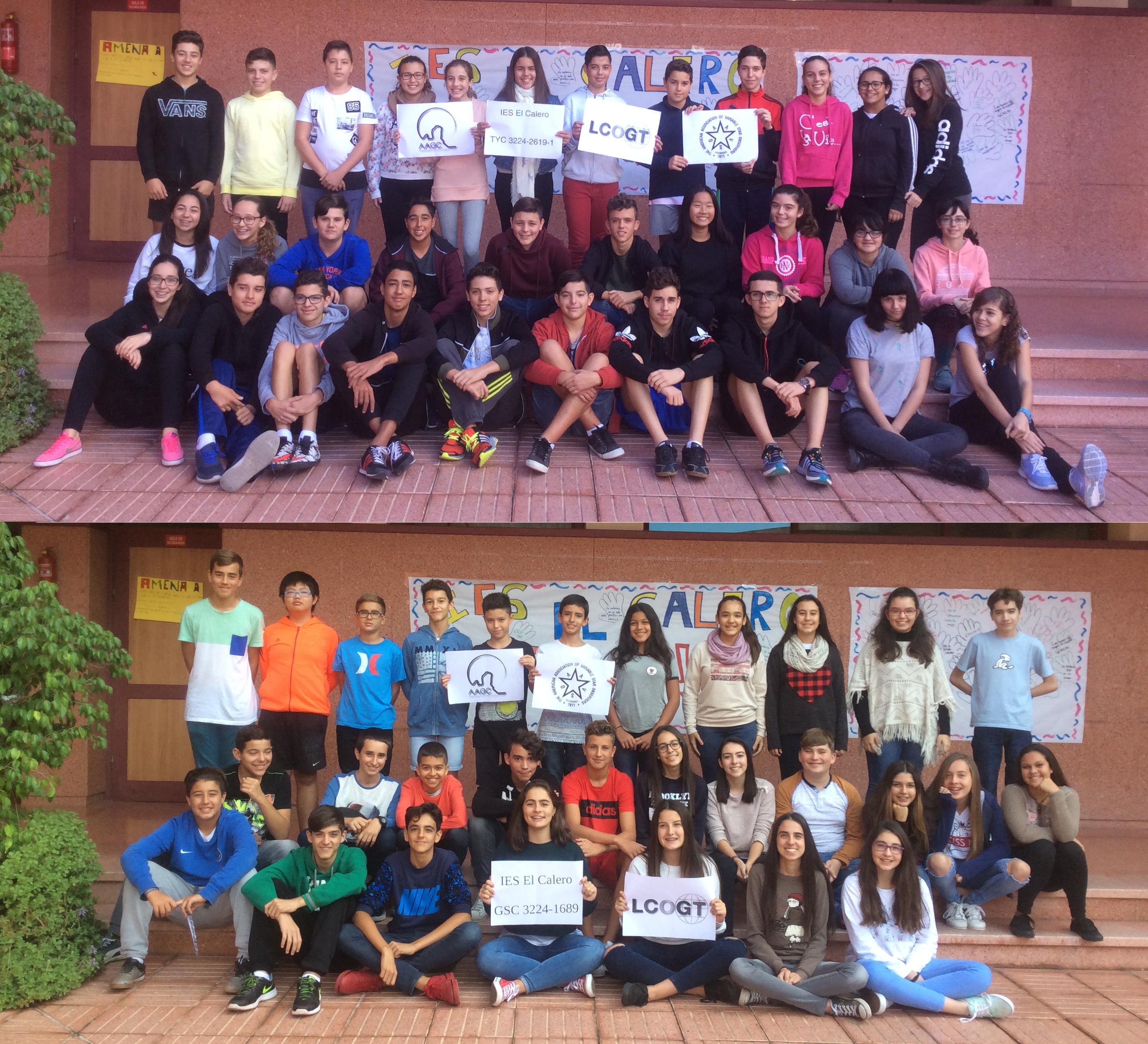 Alumnas y alumnos de segundo de ESO del IES El Calero, descubridores de las estrellas variables TYC 3224-2619-1 y GSC 03224-01689. Crédito: IES El Calero.