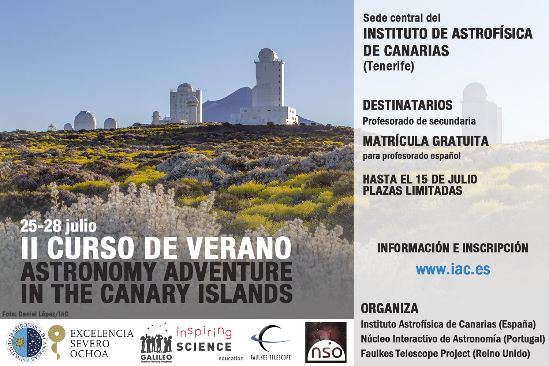 """Cartel del II Curso Internacional de Verano para profesorado """"Astronomy Adventure in the Canary Islands"""" Crédito: IAC."""