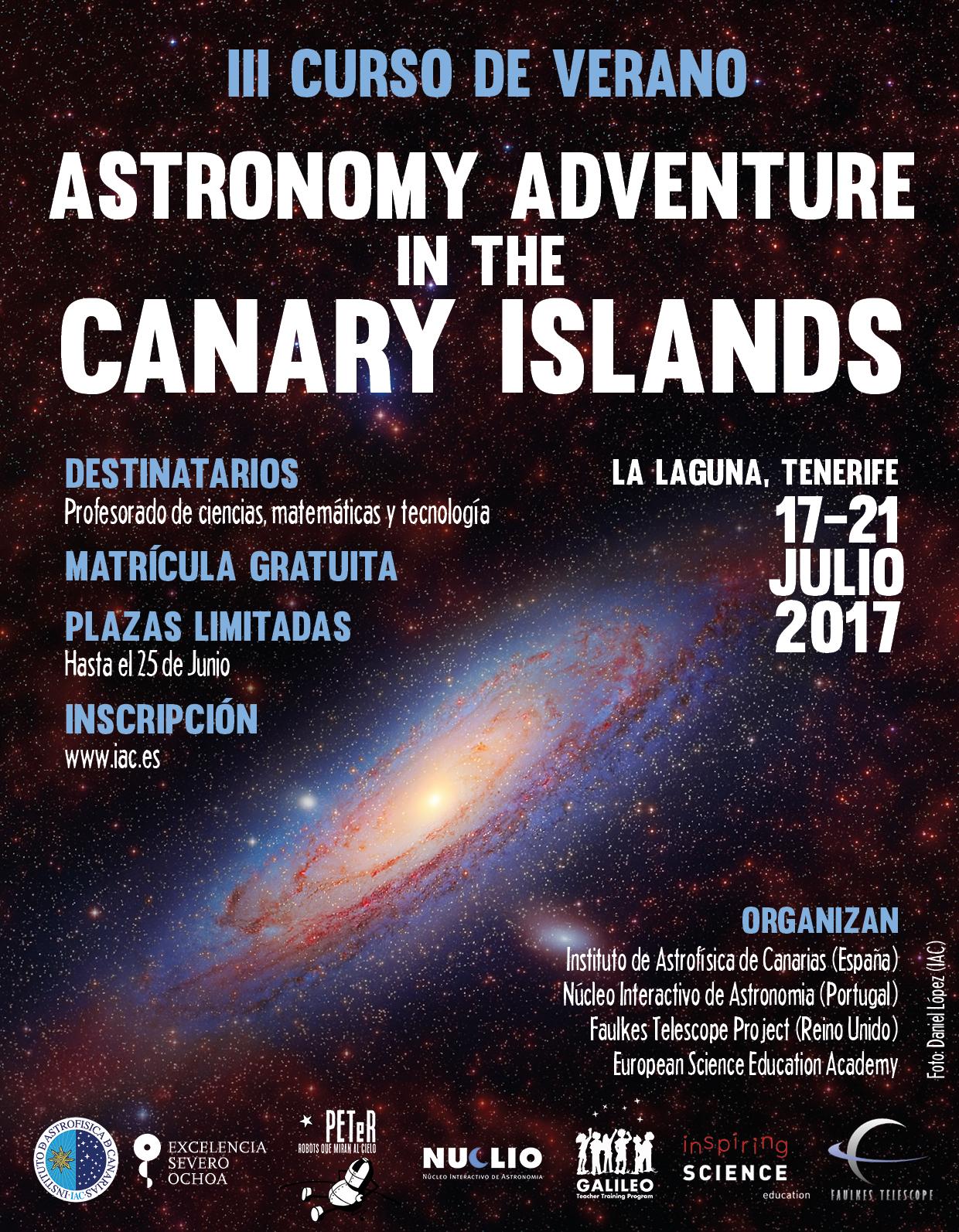 """Cartel del curso de profesorado """"Astronomy Adventure in the Canary Islands 2017"""". Crédito: IAC"""