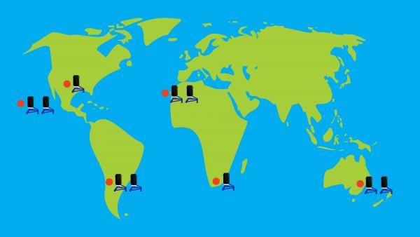Mapa mundial con las localizaciones de los telescopios de 40 cm del LCO