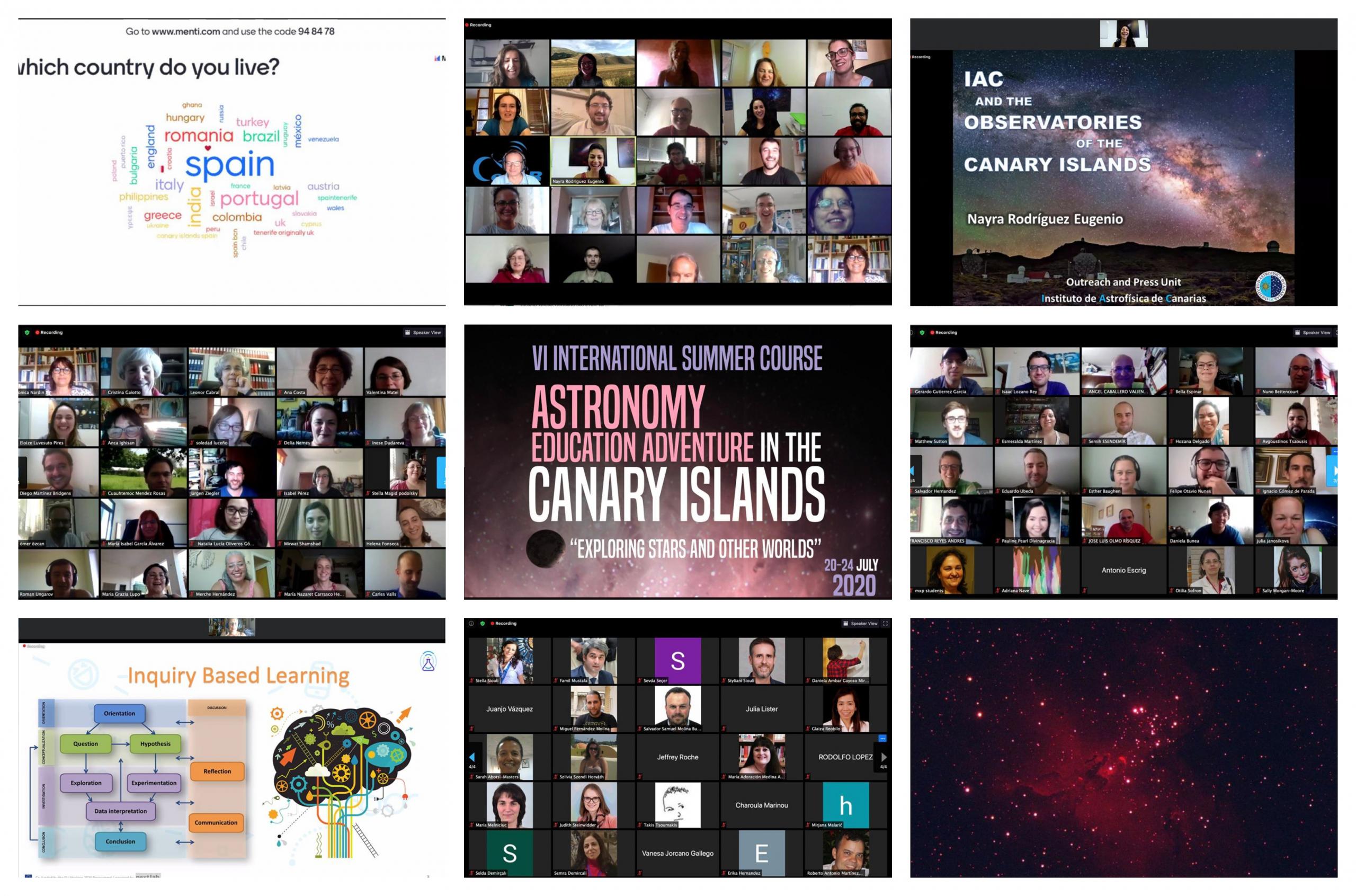 Collage de fotos del curso online Astronomy Education Adventure in the Canary Islands 2020. Créditos: IAC, NUCLIO